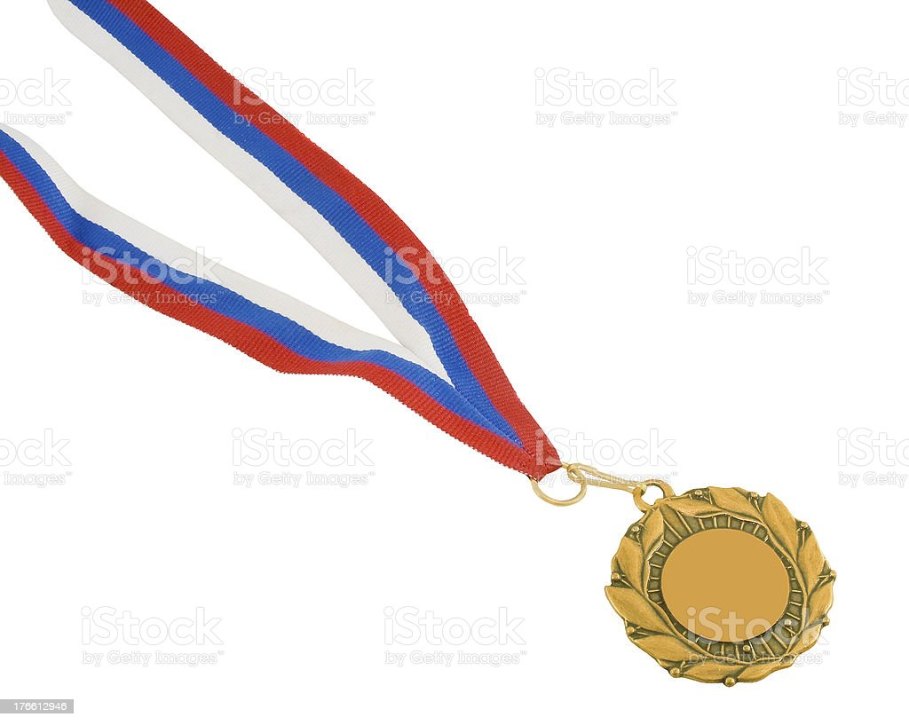 Golden medal isolated on white royalty-free stock photo