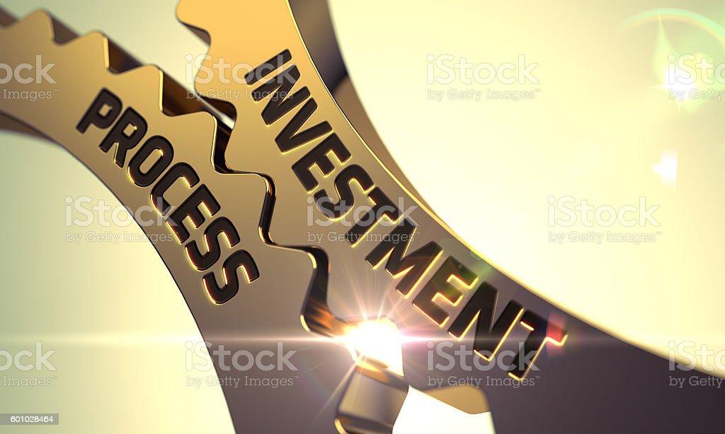 Golden Metallic Cogwheels with Investment Process Concept. stock photo