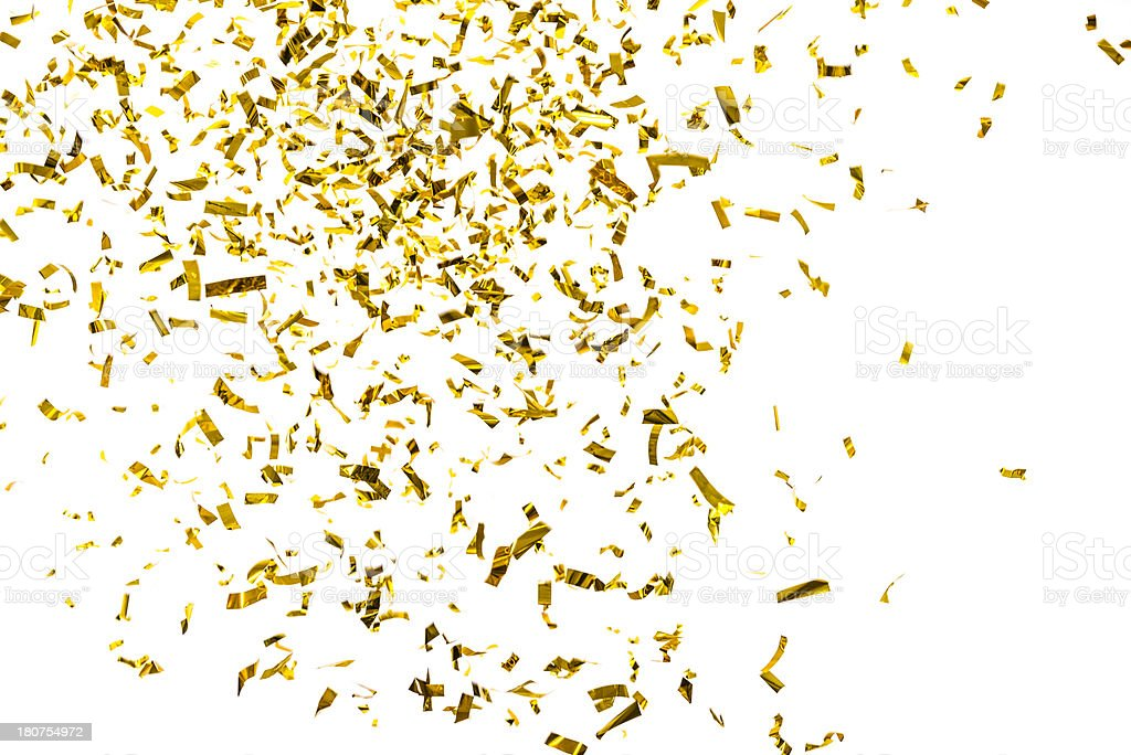 Golden metallic confetti falling, isolated on white background stock photo