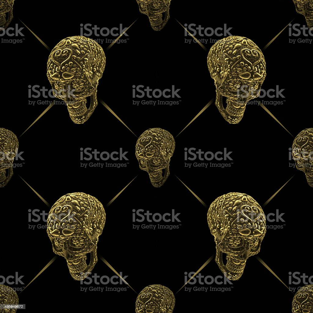 golden mexican sugar skull seamless pattern stock photo