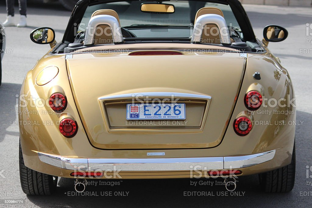 Golden Mitsuoka Roadster in Monaco - Rear View stock photo