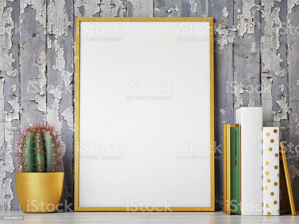 Golden mock up frame, hipster background stock photo