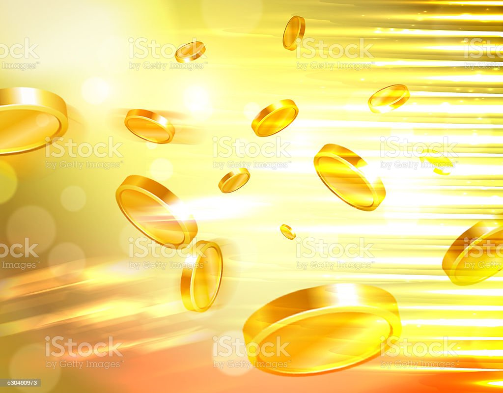 Golden money and casino coins flying out at the viewer stock photo