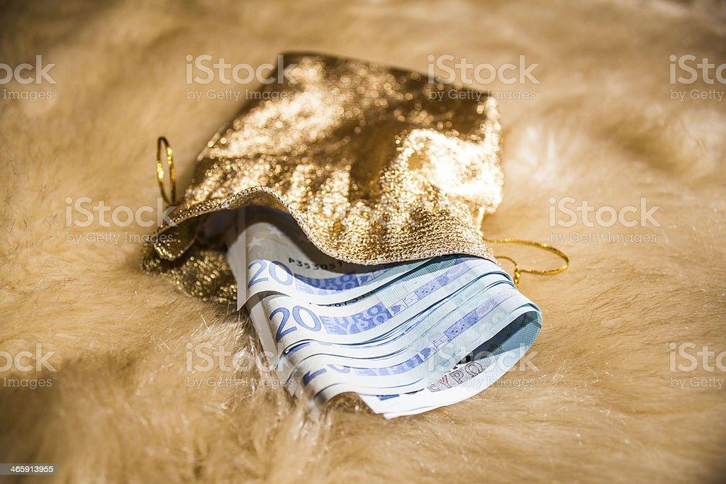 Golden money bag stock photo
