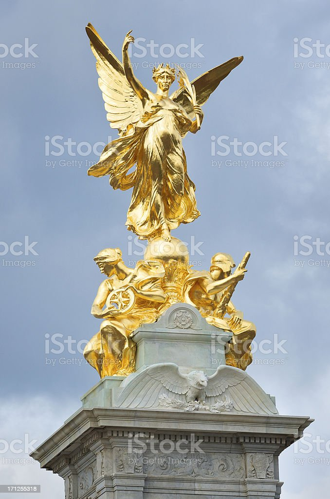 Golden Monument Winged Angel of Peace Victory London stock photo
