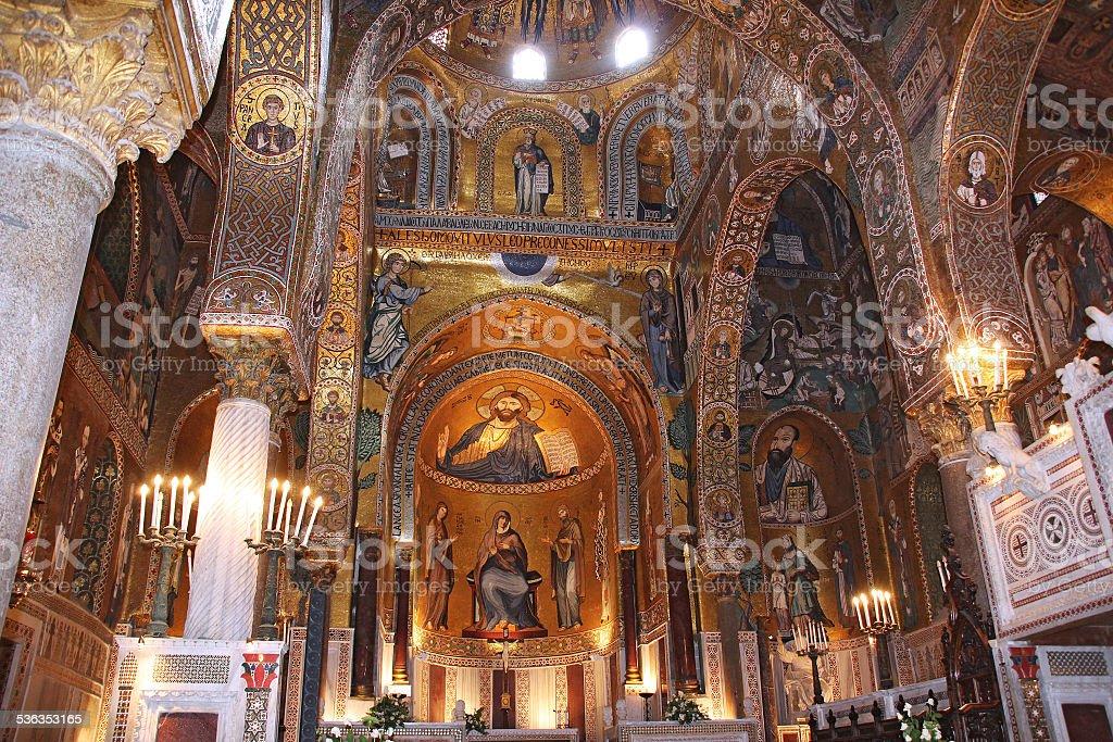 Golden mosaic in Cappella Palatina stock photo