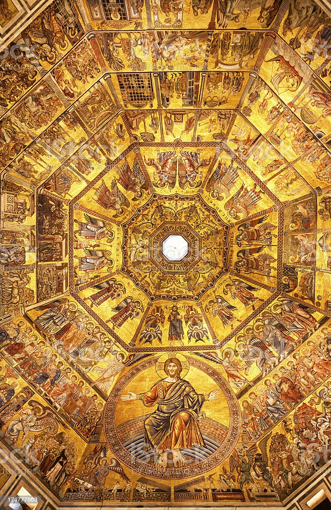 Golden mosaic of Jesus Christ in Florence Baptistery, Italy stock photo