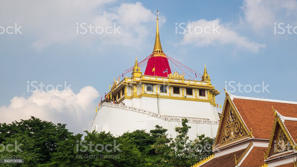 Golden Mount in annual Buddha relic worshipping ceremony stock photo