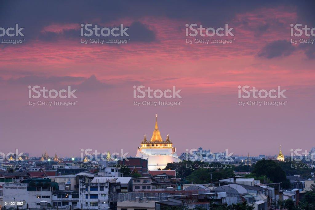 golden mount temple (wat sraket rajavaravihara) at sunset stock photo