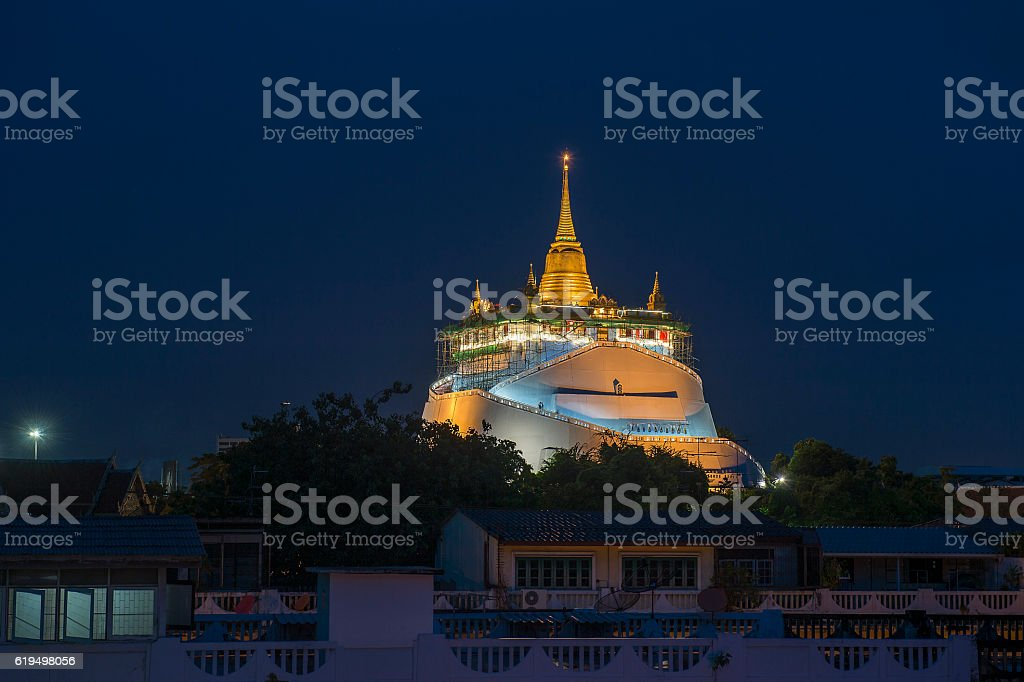 Golden Mountain, Bangkok, Thailand, renovation. stock photo