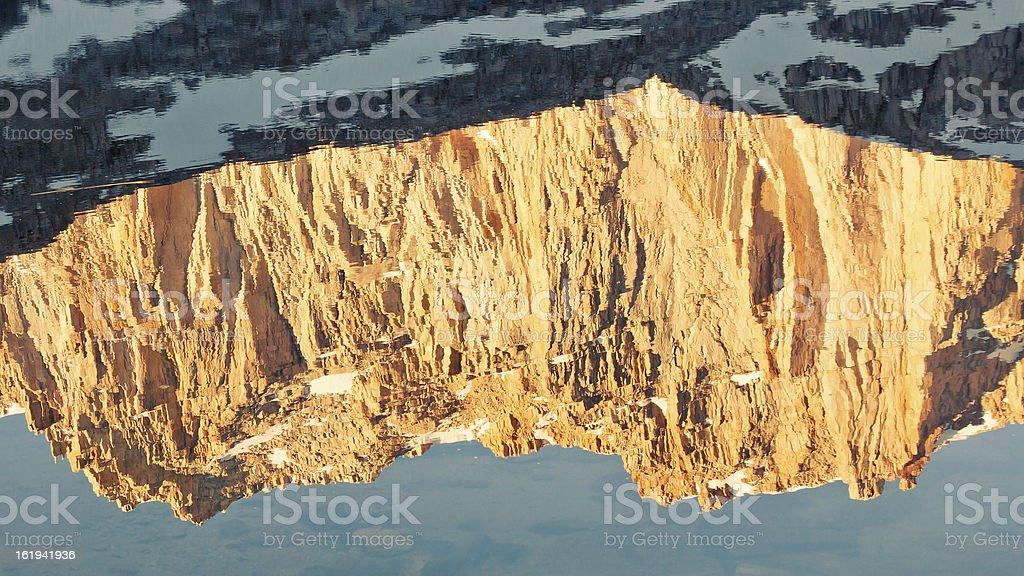 Golden Mountain Reflection stock photo