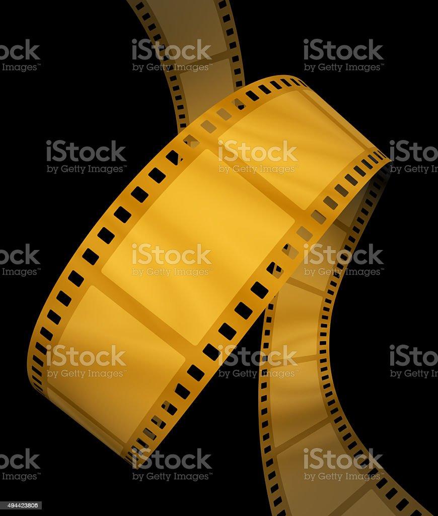 Golden movie film spiral on black stock photo