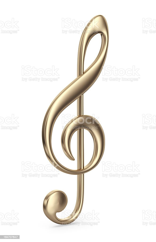 Golden music note. 3D Icon isolated stock photo