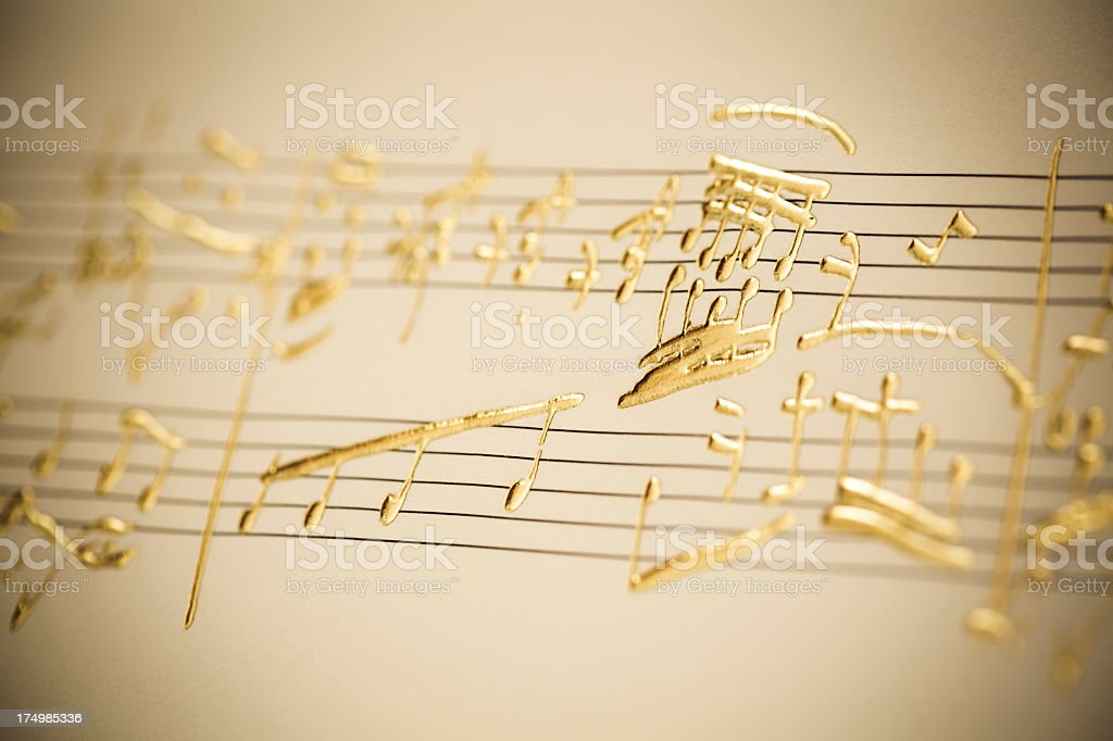 golden music notes stock photo