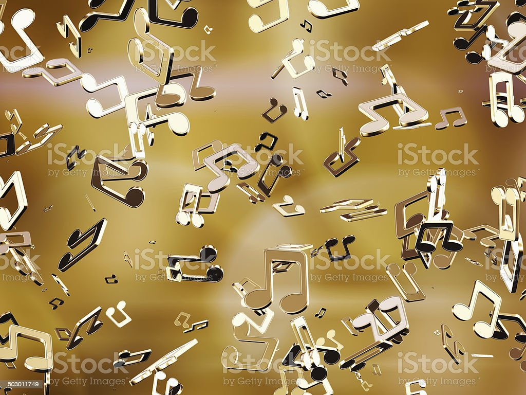 Golden music notes. stock photo