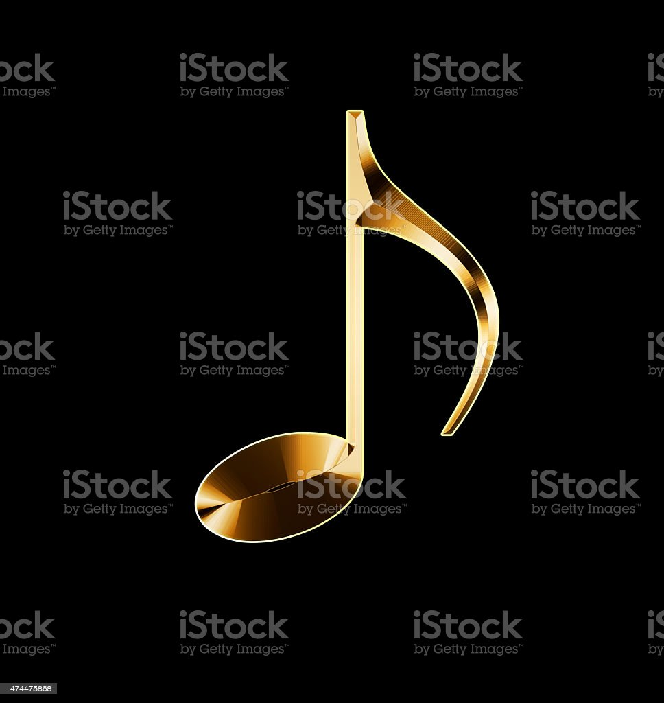 golden musical note on a black background stock photo