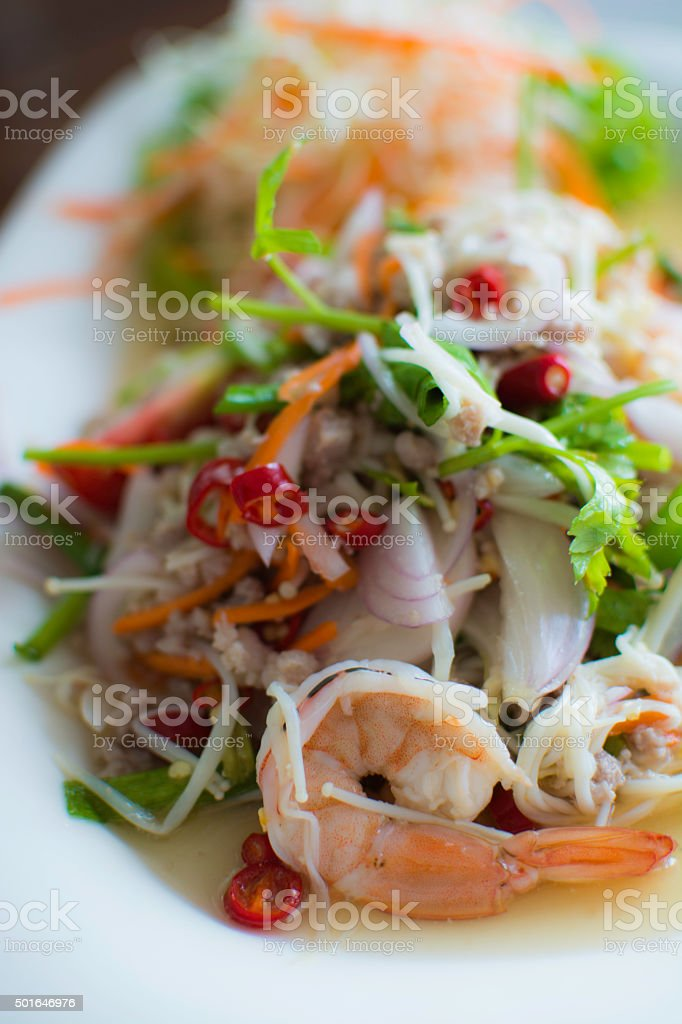 Golden Needle mushroom salad with shrimp royalty-free stock photo
