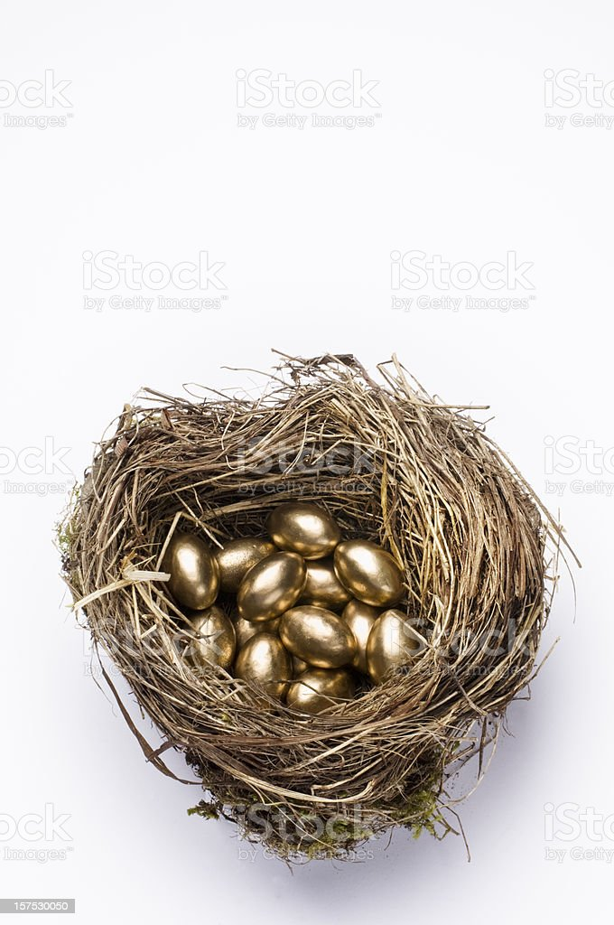 Golden Nest Egg For Retirement and Pension White Background royalty-free stock photo