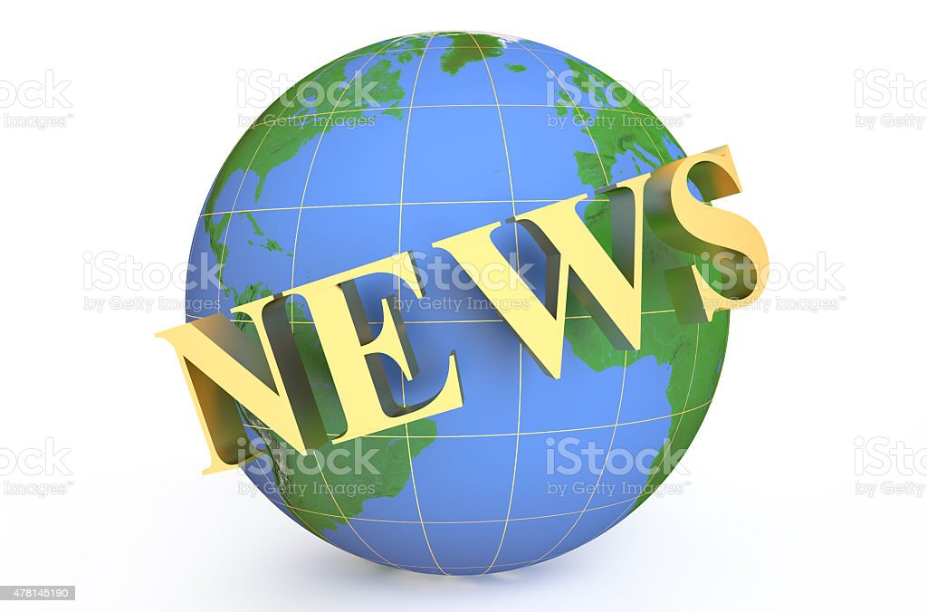 golden news around earth stock photo