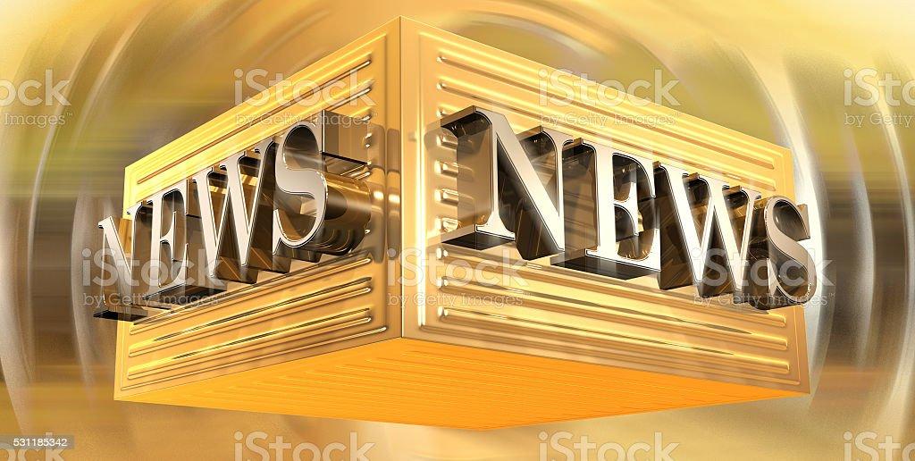 3D Golden News Letters stock photo