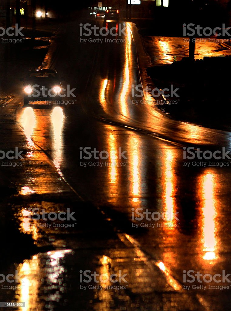 Golden Night City Reflections stock photo