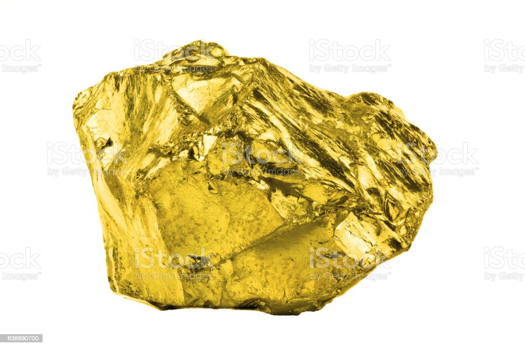 Golden nugget isolated on white background stock photo