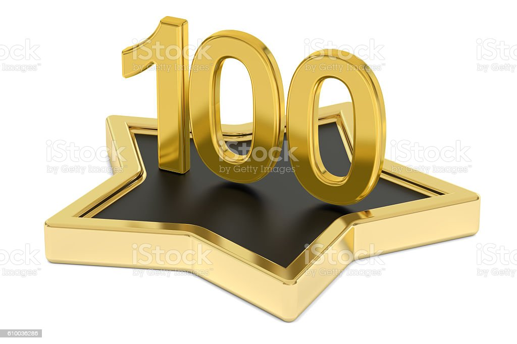 golden number 100 on star podium, award concept. 3D rendering stock photo