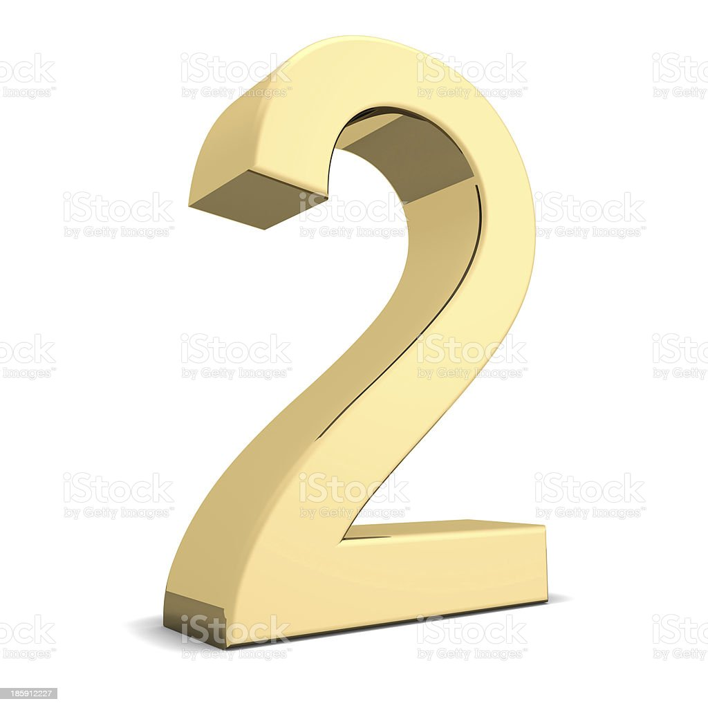 Golden number 2 royalty-free stock photo