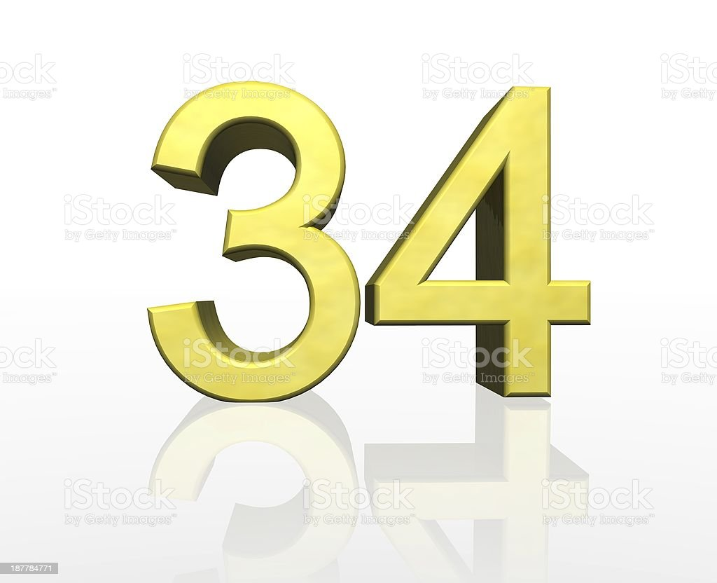 golden number 34 stock photo