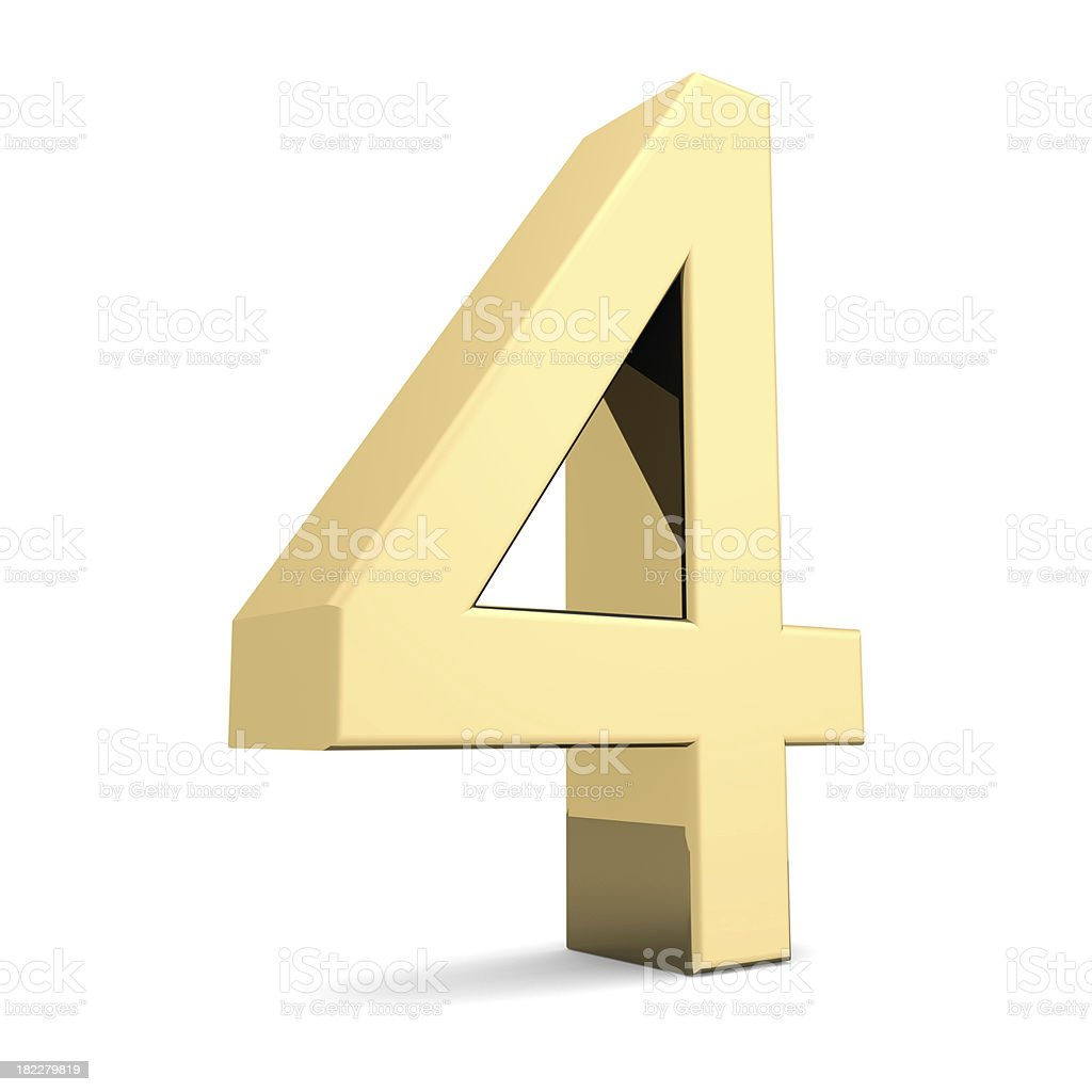 Golden number 4 royalty-free stock photo