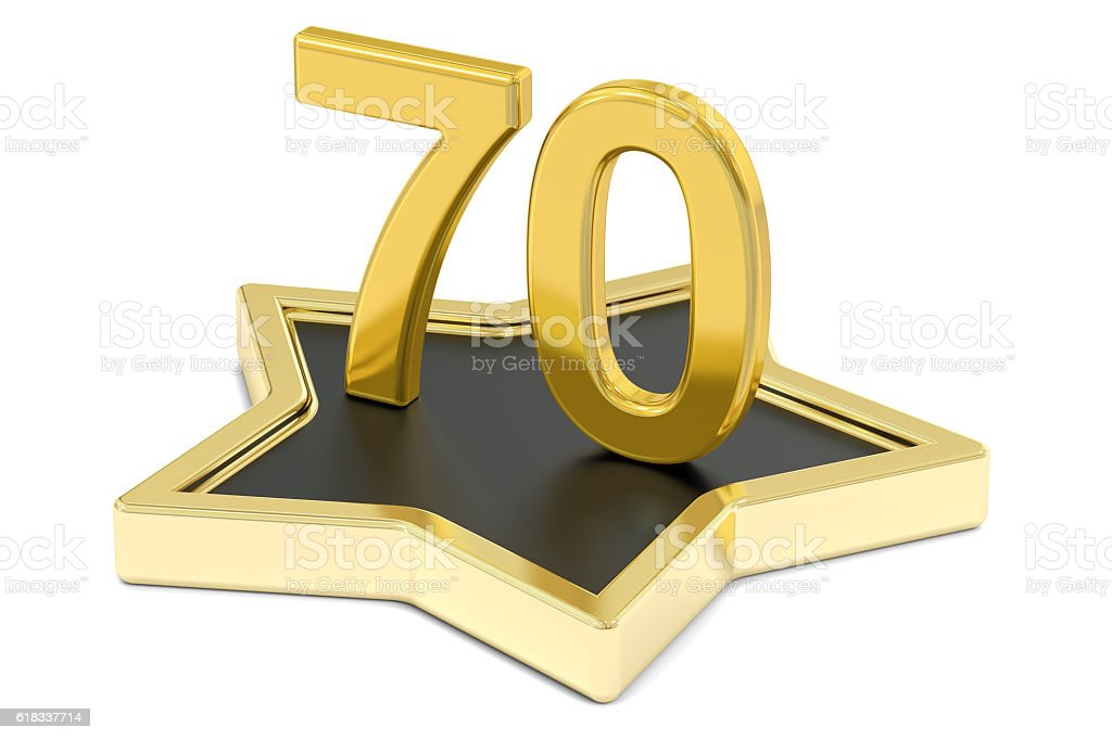golden number 70 on star podium, award concept. 3D rendering stock photo