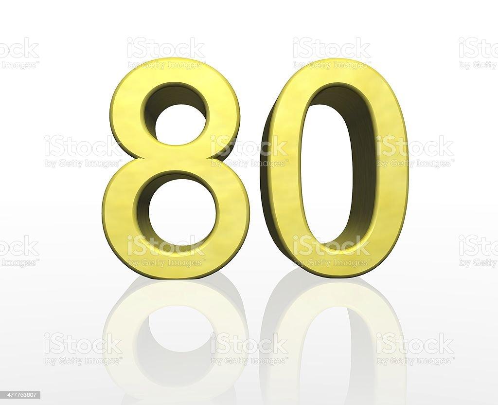 golden number eighty stock photo