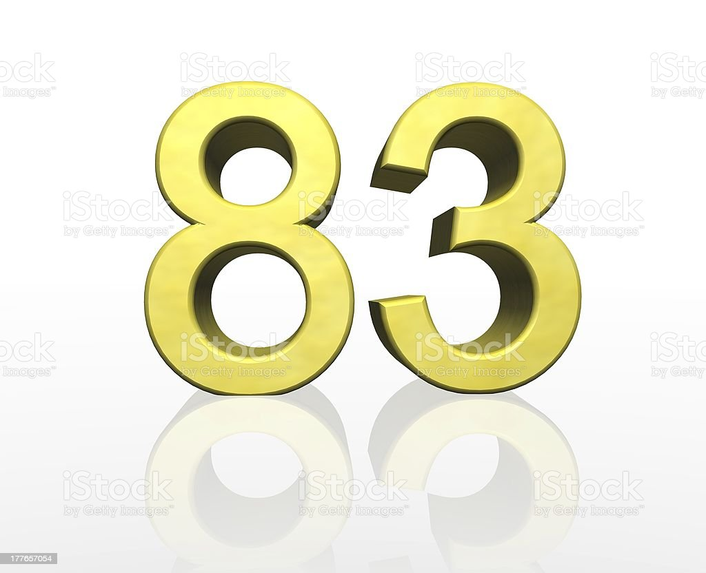 golden number eighty-three stock photo