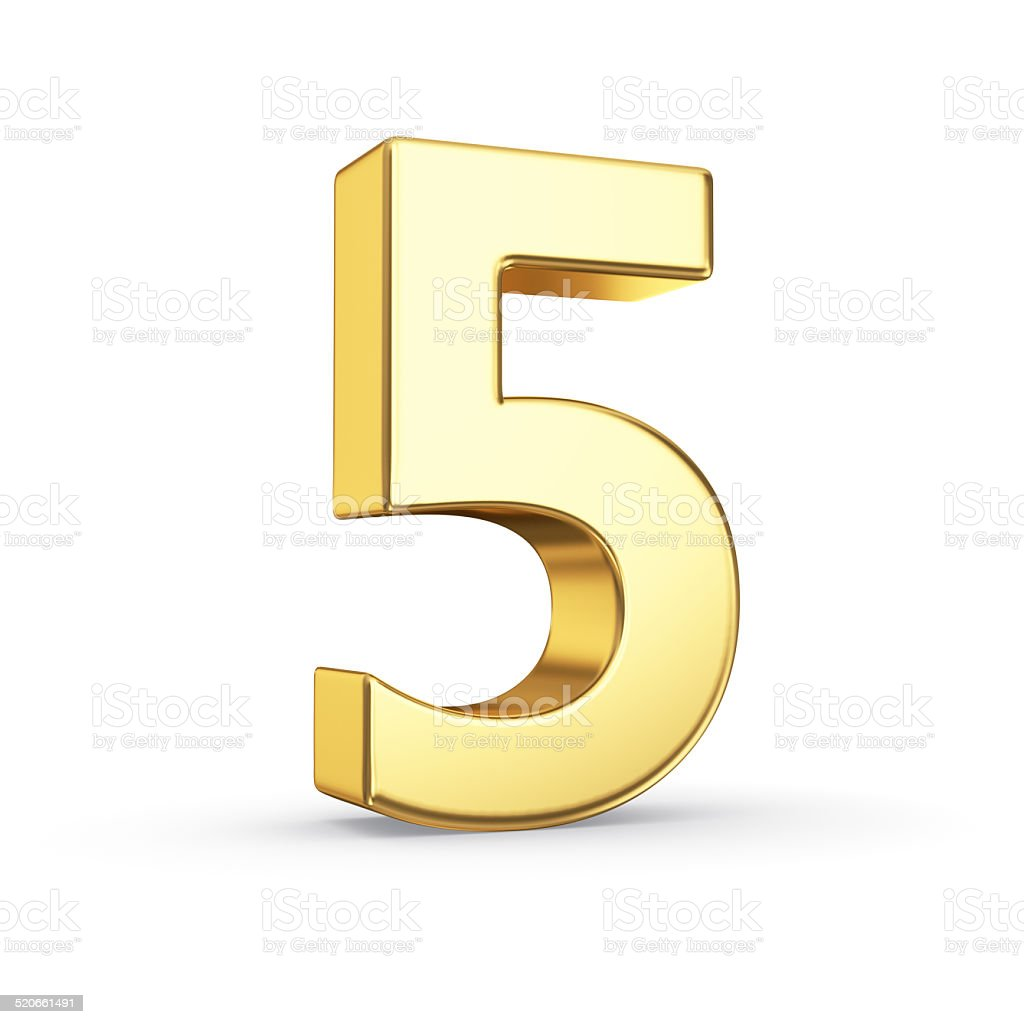 Golden number five on white stock photo