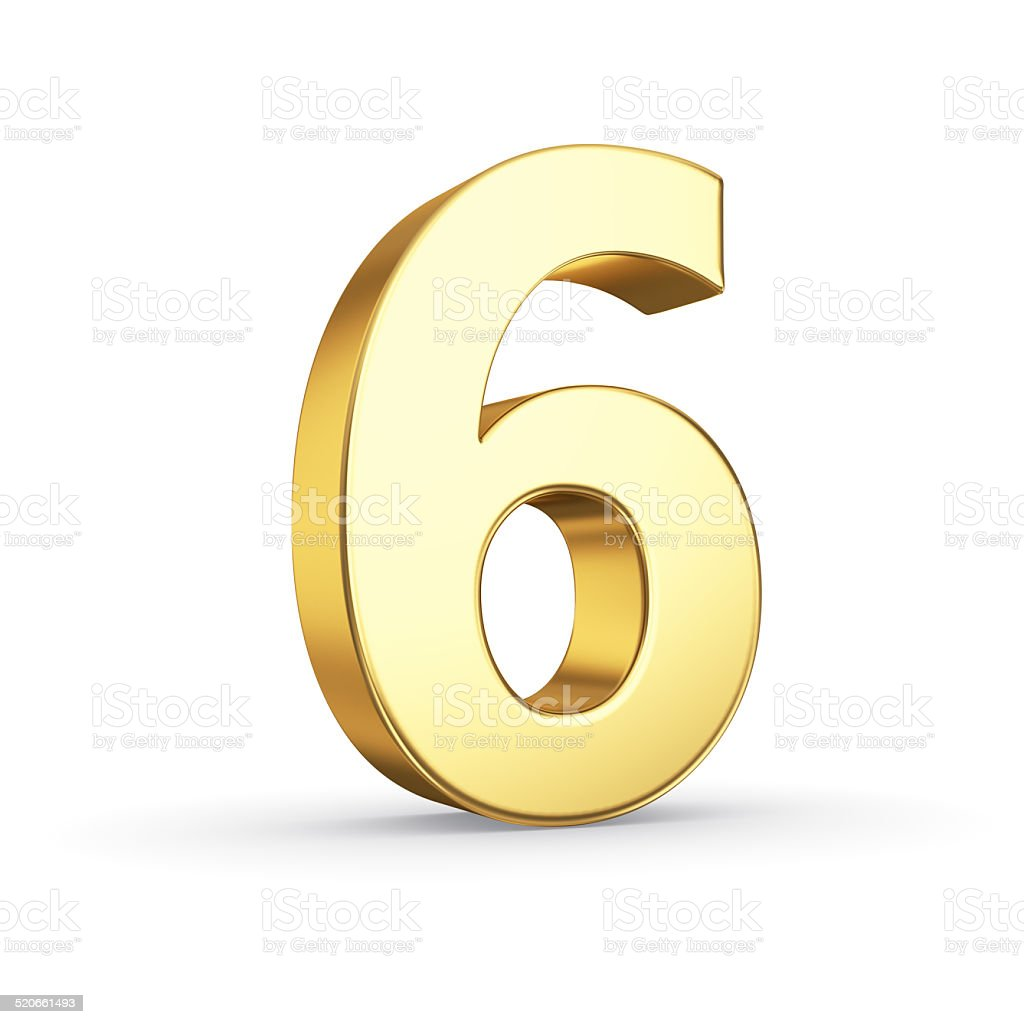 Golden number six on white stock photo