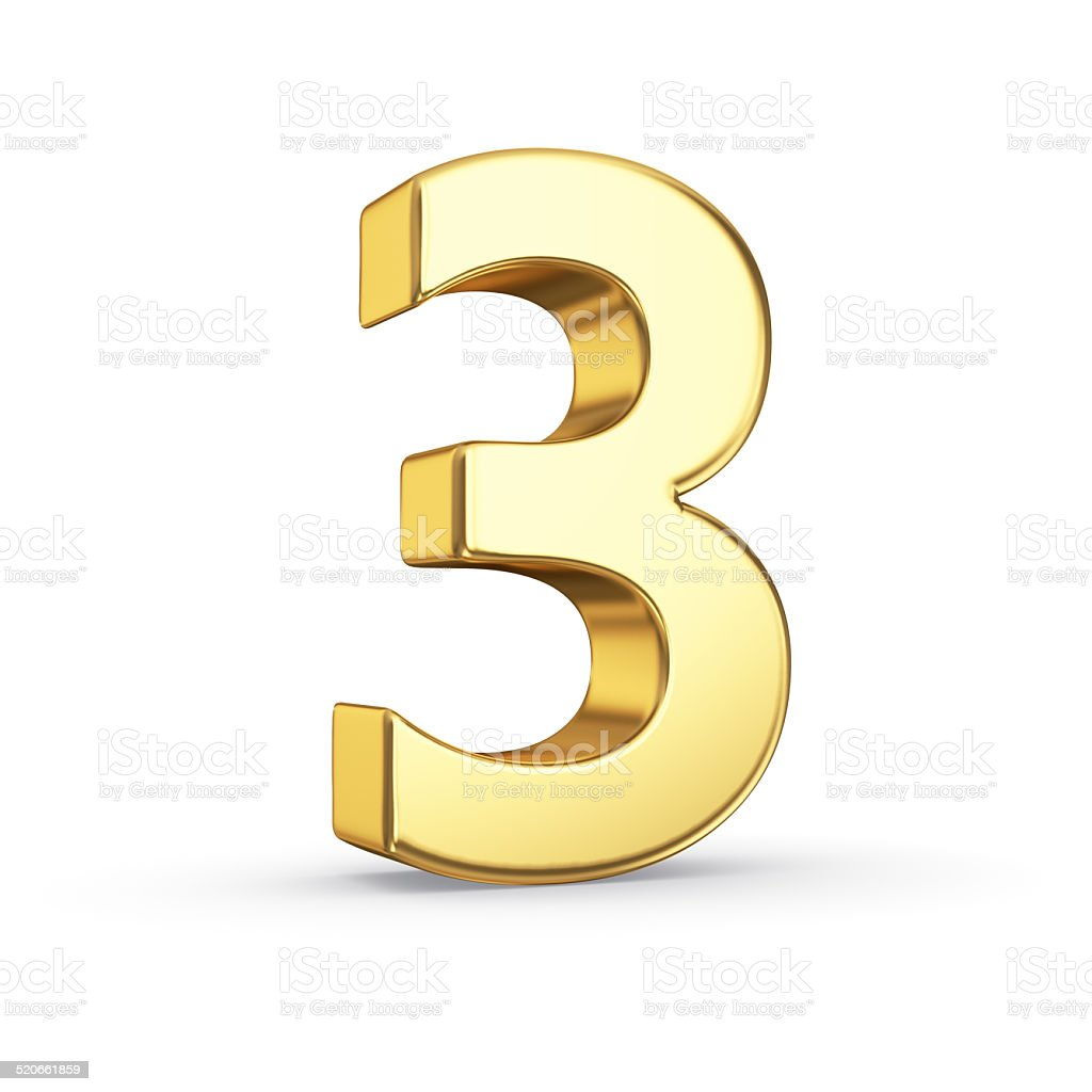 Golden number three on white stock photo