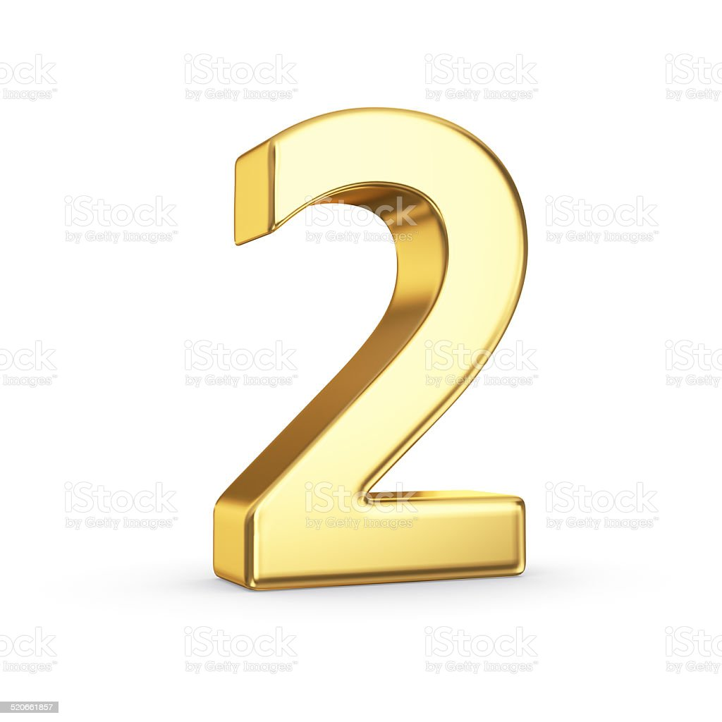 Golden number two on white stock photo
