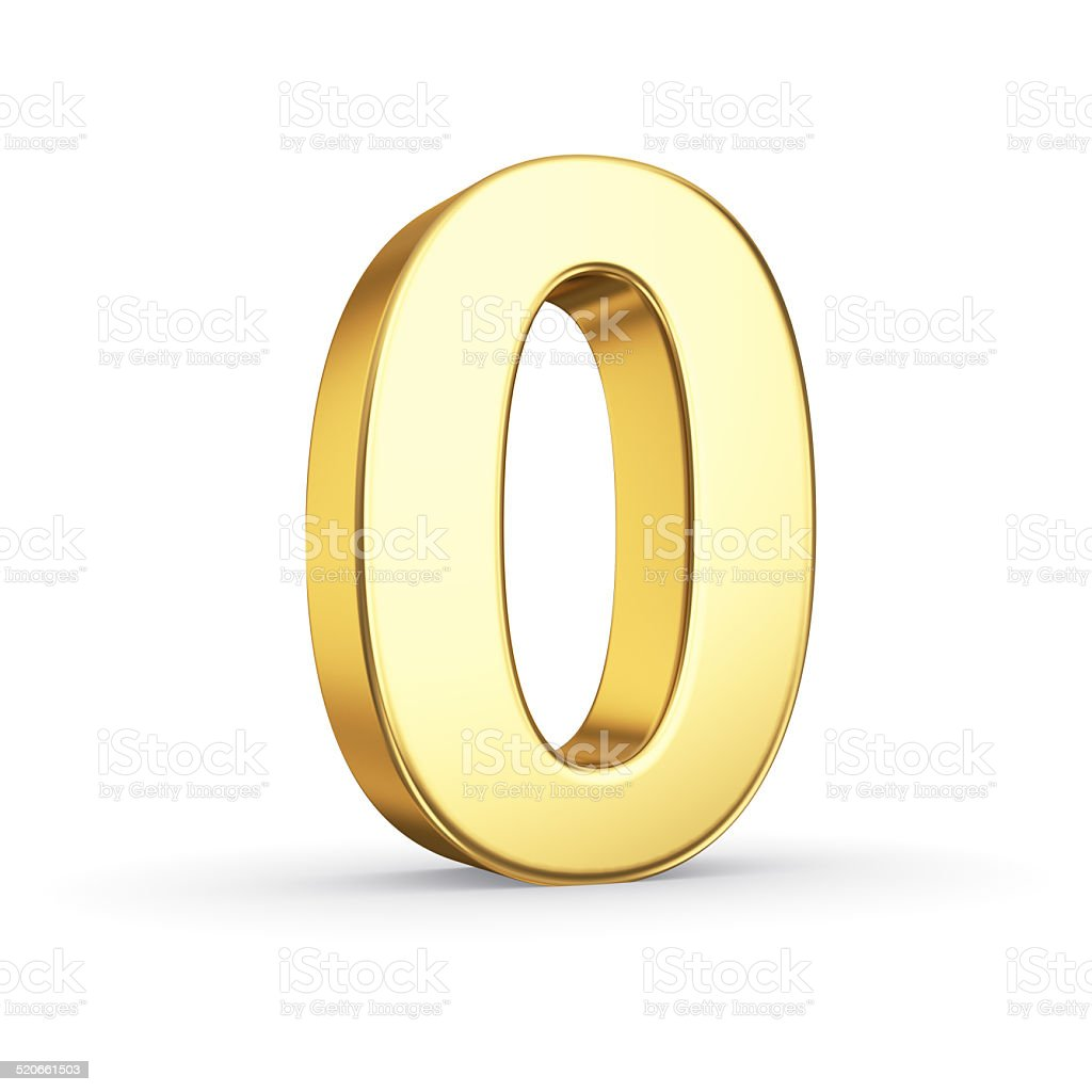 Golden number ZERO on white stock photo