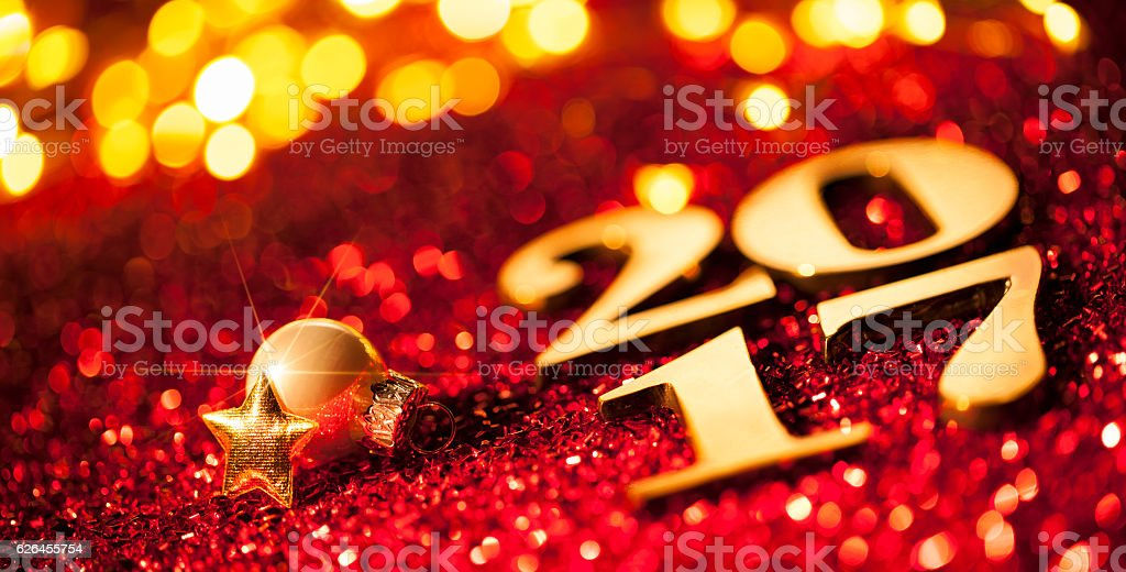 Golden numbers 2017 - Christmas Ornament New Year Gold Text stock photo