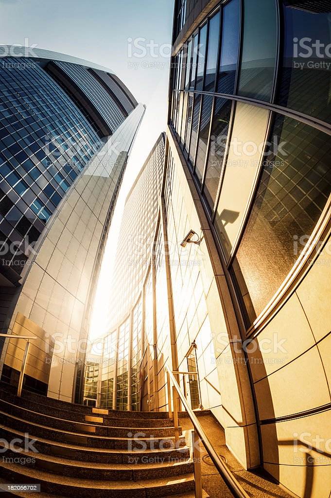 Golden office skysraper in the sun royalty-free stock photo