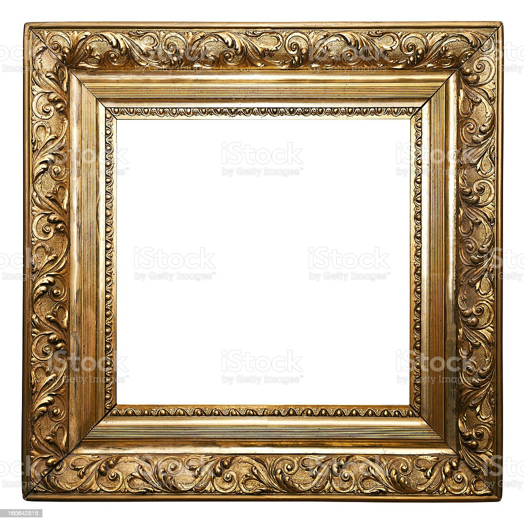 Golden Old Frame, square, isolated (clipping paths included) royalty-free stock photo