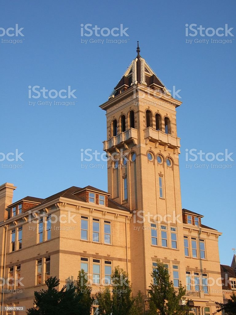 Golden Old Main stock photo