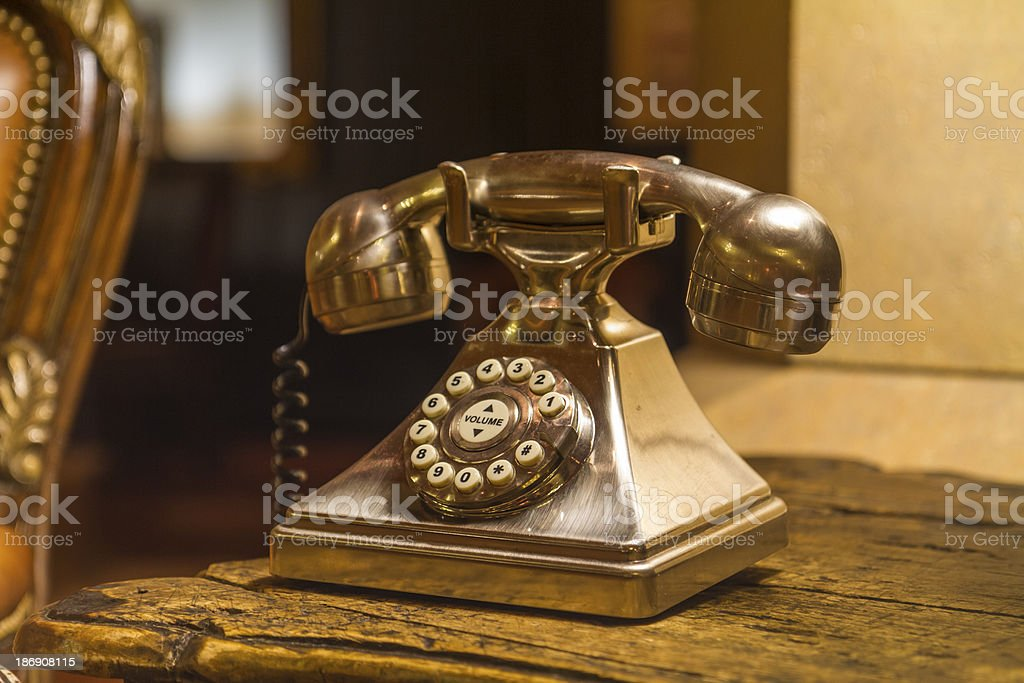 Golden old phone royalty-free stock photo