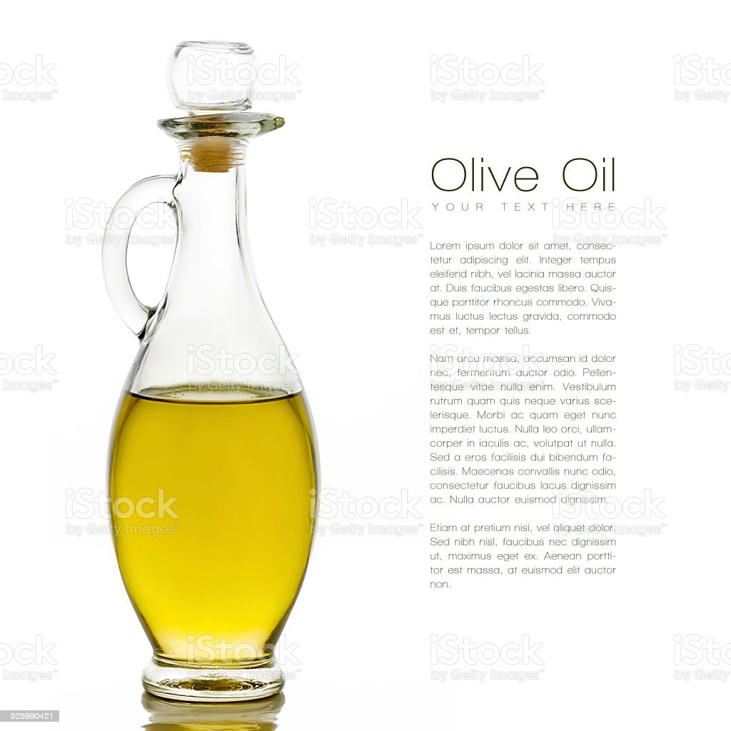 Golden Olive Oil on Glass Bottle with Sample Text. Isolated stock photo