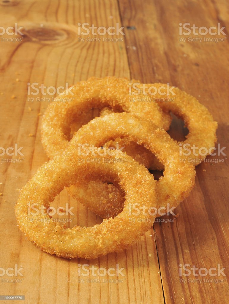 Golden onion rings stock photo