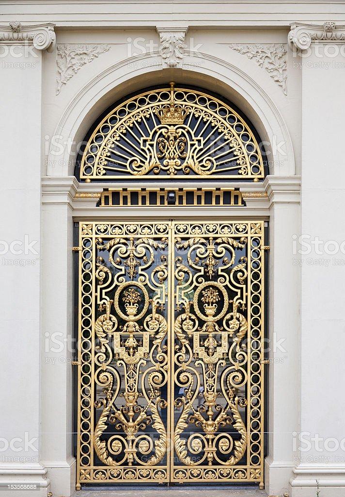 Golden ornate door stock photo