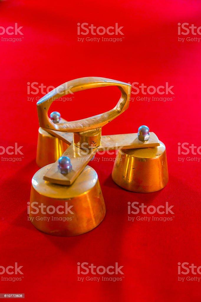Golden Orthodox Christian Ceremonial Church Bells stock photo