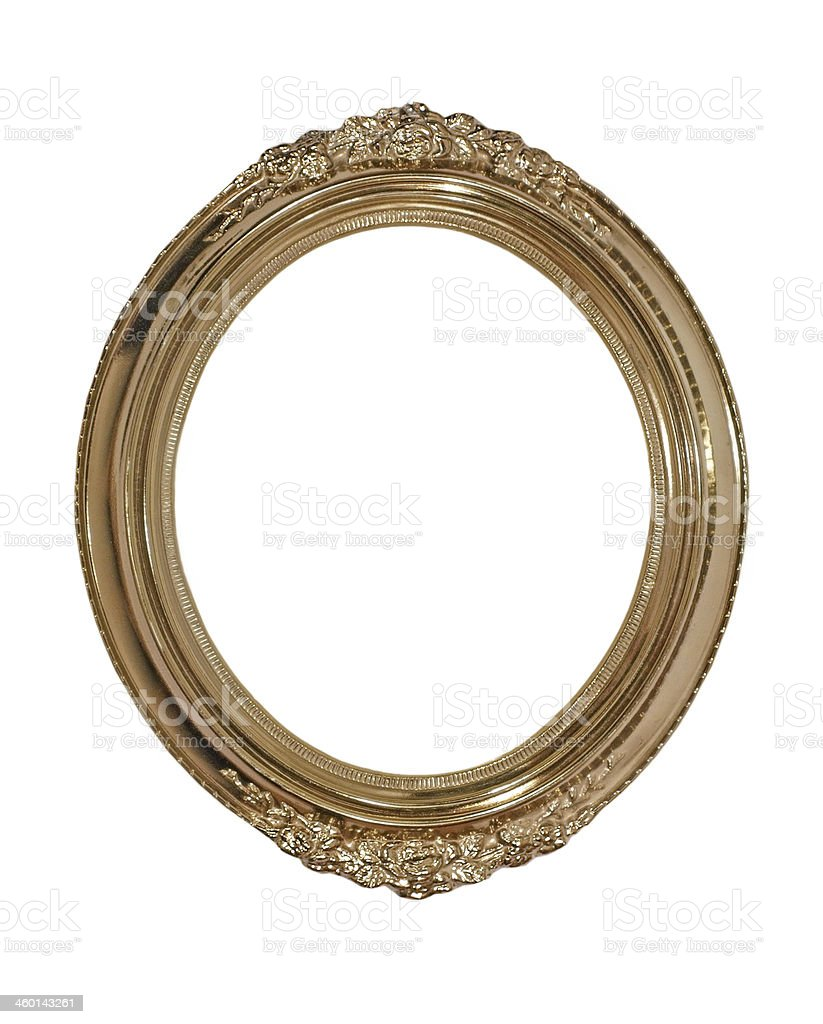 Golden oval photo frame.Isolated. royalty-free stock photo