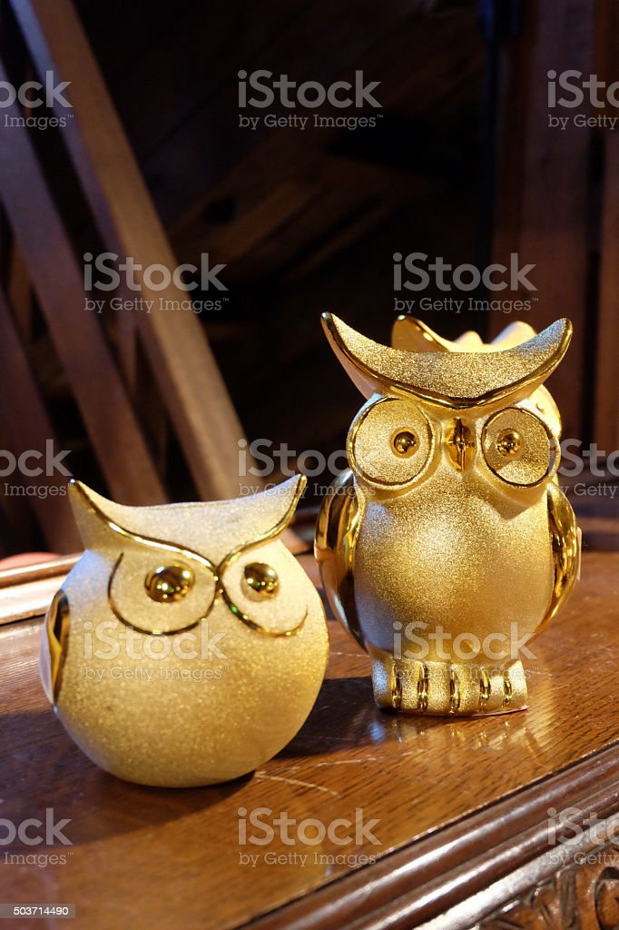 golden owl for lucky stock photo