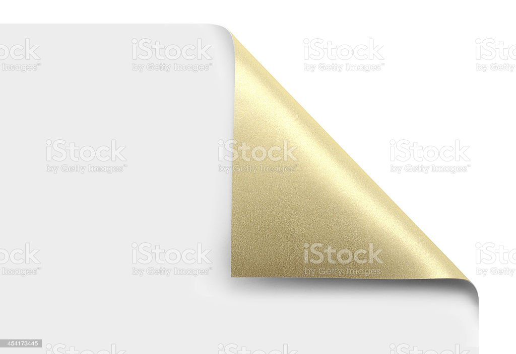 Golden page corner curl stock photo